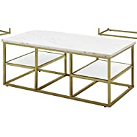 Donny Osmond Home Coffee Table/Isabelle Collection, White/ Brushed Brass, Not Applicable