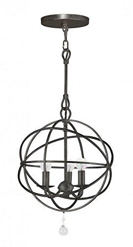 English Bronze Solaris 3 Light Globe Chandelier