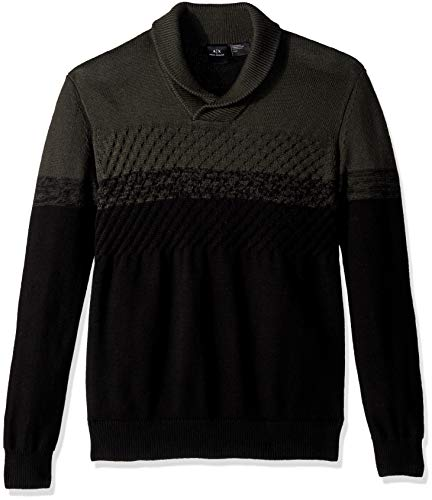 (A|X Armani Exchange Men's Hooded specked Sweater, up up peat/Black, M)