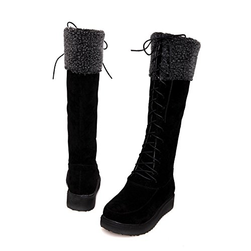 AgooLar Women's Frosted Lace-up Round Closed Toe Low-Heels High-top Boots Black oq7JWio