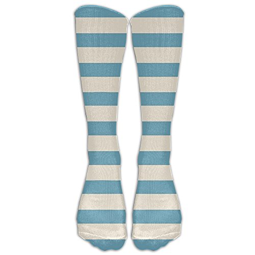 Blue And White Stripes Comfort Casual Fashion Long Socks For Running ,Sport And Travel