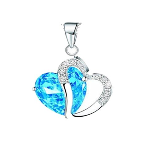 - TOPUNDER Women Heart Crystal Rhinestone Silver Chain Pendant Necklace Jewelry by