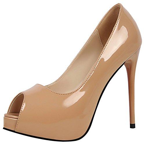 la Tacones nupcial cuero Stiletto para Peep mujer Zapatos sexy Bomba de Fiesta en boda Patentes Wealsex corte Zapatos Toe de oficina altos Caqui Plataforma Vestido Heel de Sandalias AqwX7AxSU