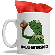 BijouLand - Frog Drinking Tea That's None of My Business - Kermit The Frog Mug, Ceramic Coffee Mug, 11-ounce, Made in USA