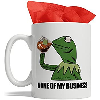 07fa478b36e02 BijouLand - Frog Drinking Tea That's None of My Business - Kermit The Frog  Mug, Ceramic Coffee Mug, 11-ounce, Made in USA