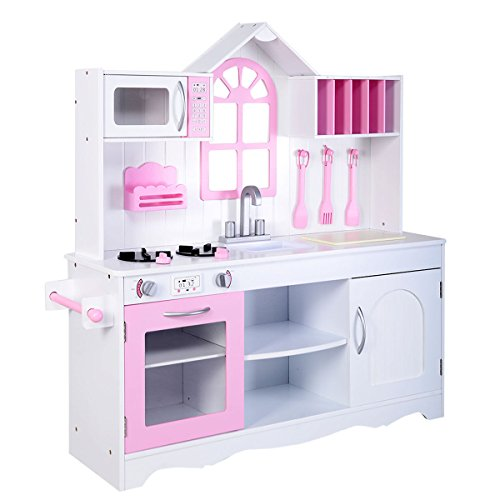 White Pink Wood Kitchen Cooking Pretend Play Set by Tamsun