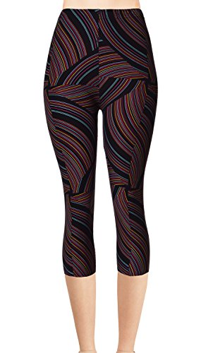 - VIV Collection Junior Size Printed Brushed Capris (Flowing Licorice)