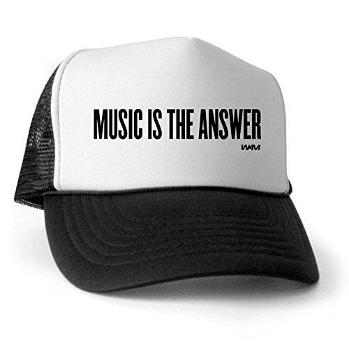 CafePress - MUSIC IS THE ANSWER Trucker Hat - Trucker Hat, Classic Baseball Hat, Unique Trucker Cap Black/White ()