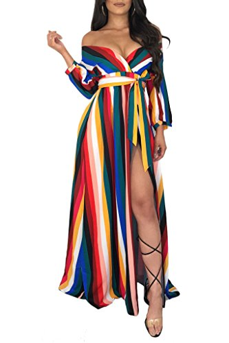 Women's Sexy V Neck Striped Long Sleeves Side Slit Maxi Dress with Belt,Blue-XL ()