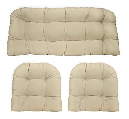 (RSH DECOR Indoor Outdoor 3- Piece Tufted Wicker Cushion Set Made with Solid Ivory Fabric)