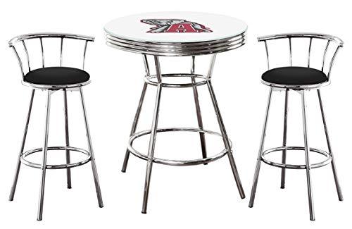 (Alabama Crimson Tide Logo Themed 3 Piece Chrome Metal Finish Bar Table Set with Glass Table Top & 2 Swivel Seat Black Vinyl Bar Stools)