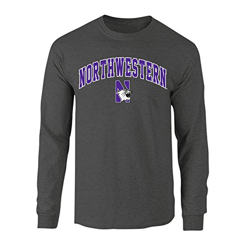Northwestern Wildcats Long Sleeve Tshirt Arch Charcoal - XXL