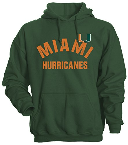NCAA Miami Hurricanes Men's Basic Fleece Hoodie, Large, Forest