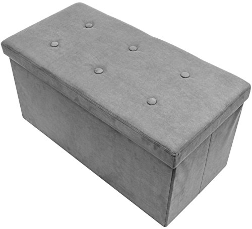 Sorbus Storage Ottoman Bench - Collapsible/Folding Bench Chest with Cover - Perfect Toy and Shoe Chest, Hope Chest, Pouffe Ottoman, Seat, Foot Rest, - Contemporary Faux Suede (Medium-Bench, Gray) (Wicker Furniture Maine)