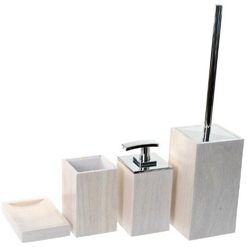 Gedy Papiro木製バスルームアクセサリーセット Gedy PA181-02 B01LZIN3YM ホワイト