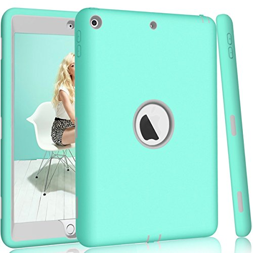 Hocase-iPad-97-2017-Case-High-Impact-Shock-Absorbent-Dual-Layer-SiliconeHard-PC-Bumper-Protective-Case-for-iPad-5th-Generation-2017-A1822A1823---Teal-Grey