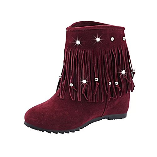 Wsx & Plm Femmes-bottines-casual-platform-carré-daim-noir Rouge, Bordeaux, Us8.5 / Eu39 / Uk6.5 / Cn40