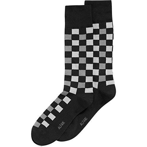 Alfani Mens Knit Checkered Casual Socks Black 10-13 (Mens Alfani Shoes)