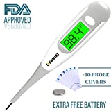 Best 2018 Digital Medical Thermometer,Easy Accurate and Fast 10 Second Read Fever Body Temperature, Flexible Tip,Waterproof for Baby,Kids, Adults, Pets,Oral, Underarm, Rectal Termometro (Gray)