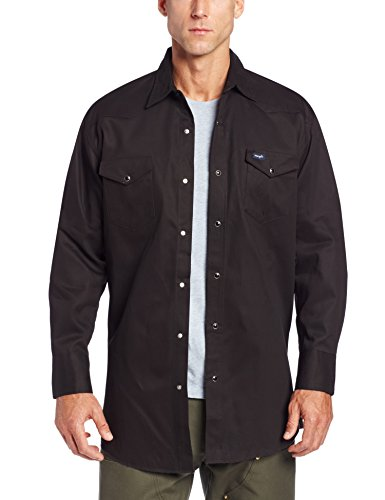 Cowboy Dress For Man - Wrangler Men's Cowboy Cut Work Western Long Sleeve Shirt, Black, 3X Big
