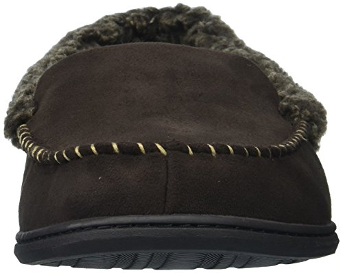 Dearfoams Moccasin Whipstitch Wide Width with Suede Men's Detail Coffee 1qwaT17