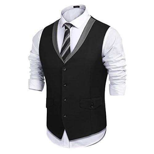 Nice COOFANDY Men's 1920's Style Slim Fit Business Suit Dress Vest Skinny Formal Waistcoat for sale