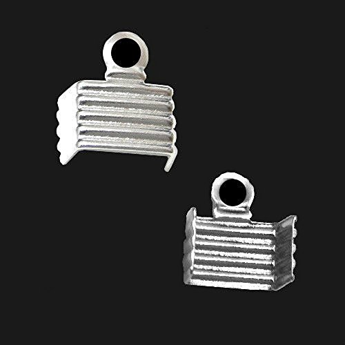 CORD END TIP CONNECTOR TERMINATION FOLD OVER CRIMP 50pcs BAND RECTANGLE SQUARE (SQUARE 5mm Silver Plated) ()