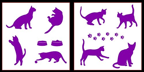 (Auto Vynamics - STICKERPACK-CATS-10-GPUR - Gloss Purple Vinyl Detailed Cats & Cat Accessories Sticker Pack - Includes Many Different Cats & Paw Prints! - 10-by-10-inch Sheets - (2) Piece Kit - Themed Set)