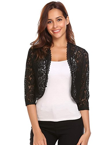 Bifast Women Lace Sweater Long Sleeves Lace Crochet Bolero Crop Cardigan Shrug Top Cardigan S-XXL