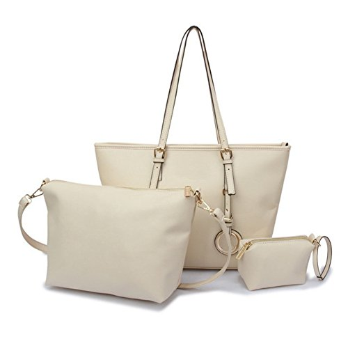 Fujia 2016 Leather Tote Zipper Women Handbag White