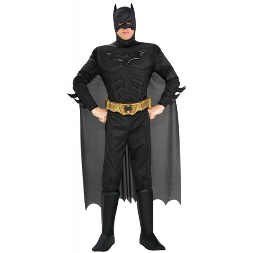 The Dark Knight Batman Deluxe Muscle Chest Costume, Black, (Deluxe Dark Knight Batman Adult Costumes)