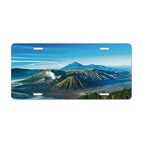 Java Metal Cover - Volcano,Mount Bromo Volcano During Sunrise in East Java Indonesia Majestic Nature,Sky Blue Green White Custom Personalized Aluminum Metal License Plate Cover - 6x12 in