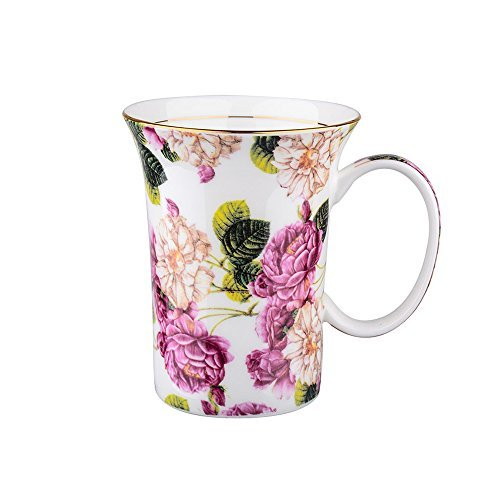 ufengke Creative European Bone China Cup, Golden Fringe Ceramic Coffee Mugs, Gift Mug, Red And Green Camellia Flower ()