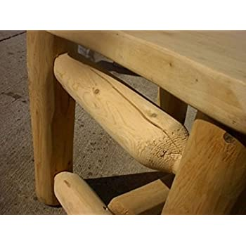 Rustic White Cedar Log Walk in Octagon Picnic Table- Medium Size- Amish Made USA