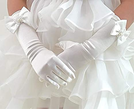 Black Lace Long Wedding Gloves for Photography M: 4-7 ans Doitsa 1 Pair of Childrens Satin Wedding Gloves Performance and Dance