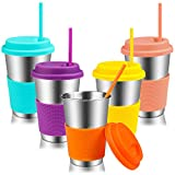 Kereda Stainless Steel Cups with Lids & Straws, 500ml/17 oz Metal Drinking Mugs Tumblers BPA/Lead Free for Children, Adults and Toddlers, Set of 5