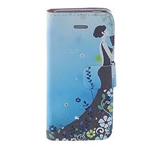 GONGXI-Kinston belleza de la flor del patrón de la PU Leather Case cuerpo completo con soporte para iPhone 5/5S