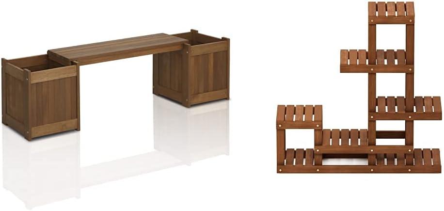 FURINNO FG16011 Tioman Hardwood Flower Box, 1-Pack, Natural & FG18451 Tioman Hardwood Patio Furniture Outdoor Flower Stand in Teak Oil, Natural