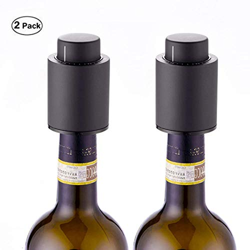 Vacuum Wine Stoppers with Time Scale Record Saver Wine Preserver Leak Proof,Bottle Sealer Keeps Wine Fresh for 7 Days (2 Pack)