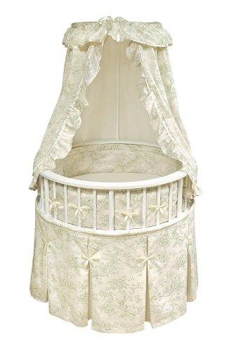 Badger Basket Elegance Round Baby Bassinet, White with Sage - Toile Basket