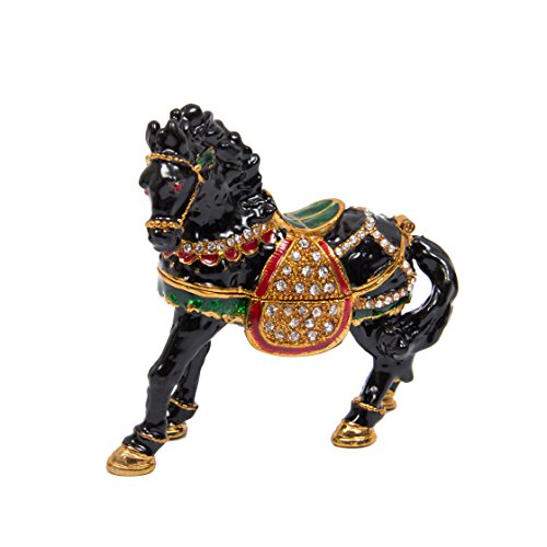 QIFU-Hand Painted Enameled Horse Decorative Hinged Jewelry Trinket Box Unique Gift for Home Decor (Black)