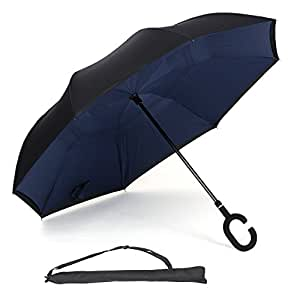 UnaMela Inverted Umbrella, Double Layer Windproof Stand-self Big Straight Reverse Folding Umbrella with C Shape Handle Carrying Bag for Outdoor and Car Use(Navy blue)