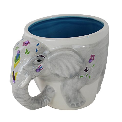 Good TMD Holdings EEE0504 Festive 3D Indian Elephant Hand Painted And Covered  With Rhinestones Novelty Coffee Mug, 16 Oz, Grey