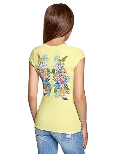 oodji Ultra Mujer Camiseta de Algodón con Cuello Pico Amarillo (5019P)