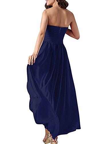 Bassa Profondo Alta Di Solido Senza Elegante Vestito Bretelle Asvogue Delle Donne Cocktail Blu vIXZ1