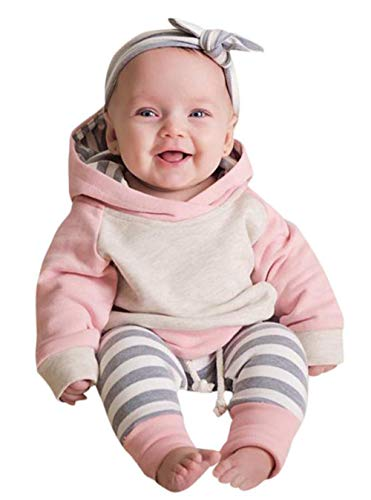 Jacket Top Skirt Pants - Baby Boys Girls Clothes Long Sleeve Hoodie Tops Sweatsuit Long Pants Outfit Set (Pink, 0-6 Months)