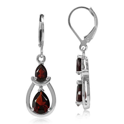(4ct. Natural Pear Shape Garnet White Gold Plated 925 Sterling Silver Drop Dangle Leverback Earrings)