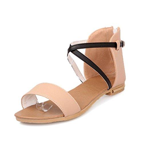Sandalias Mujer/Sandalia con Pulsera para Mujer/El Código en el Verano Zapatos de Mujer Tira Transversal Sandalias de Estudiantes. Apricot