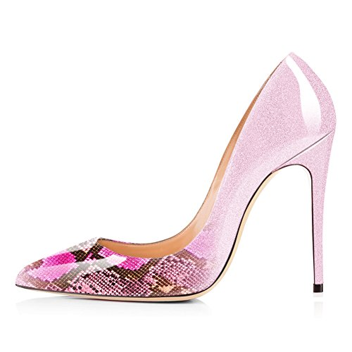 Wedding Snake High Pointed Size Women Plus Stilettos Heels Dress on UMEXI Party Shoes Slip Pink Toe Gradient Pumps tq8wW5a