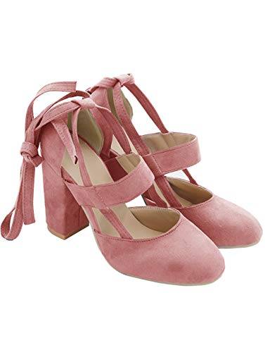 (PRETTODAY Women's Thick High Heel Shoes Sexy Straps Pumps Pink)